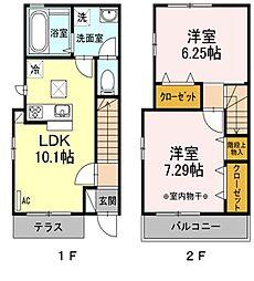都営新宿線 篠崎駅 徒歩10分の賃貸テラスハウス 1階2LDKの間取り
