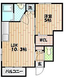 小田急江ノ島線 東林間駅 徒歩11分の賃貸アパート 2階1LDKの間取り