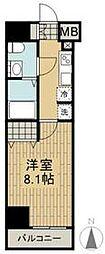 京王線 府中駅 徒歩7分の賃貸マンション 9階1Kの間取り