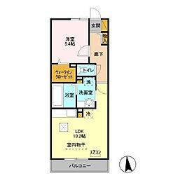 京成本線 公津の杜駅 4.1kmの賃貸アパート 3階1LDKの間取り