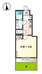 名鉄名古屋本線 岐南駅 徒歩20分の賃貸アパート 1階1Kの間取り