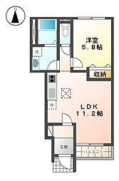 JR東海道本線 沼津駅 バス19分 沼津商業高校下車 徒歩8分の賃貸アパート 1階1LDKの間取り