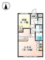 JR八高線 丹荘駅 徒歩19分の賃貸アパート 1階1LDKの間取り