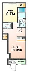 JR成田線 小見川駅 5.6kmの賃貸アパート 1階1LDKの間取り