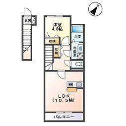 JR内房線 巌根駅 徒歩10分の賃貸アパート 2階1LDKの間取り