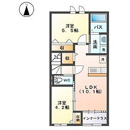 名鉄常滑線 西ノ口駅 徒歩4分の賃貸アパート 2階2LDKの間取り