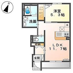 JR高崎線 高崎駅 5.2kmの賃貸アパート 1階1LDKの間取り