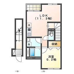 スターテラス富士町アパートII期新築工事 2階1LDKの間取り