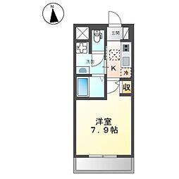 (仮称)開田三丁目新築マンション 1階1Kの間取り