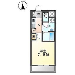 (仮称)開田三丁目新築マンション 2階1Kの間取り