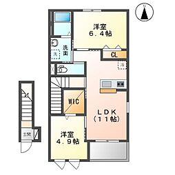 木更津市中里2丁目新築アパートB 2階2LDKの間取り