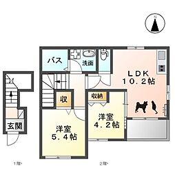 名鉄犬山線 西春駅 徒歩23分の賃貸アパート 2階2LDKの間取り