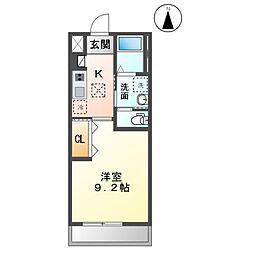 木更津市金田東3丁目新築アパート 1階1Kの間取り