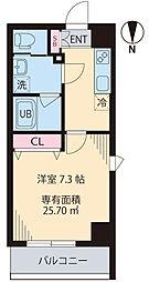 COURT TAKETOKU III 2階1Kの間取り