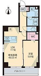 COURT TAKETOKU III 3階1LDKの間取り