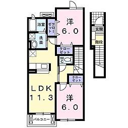 カシミールA 2階2LDKの間取り
