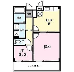 メゾンピュア 2階1DKの間取り