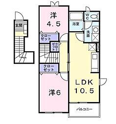 サンパティークヴィラ 2階2LDKの間取り