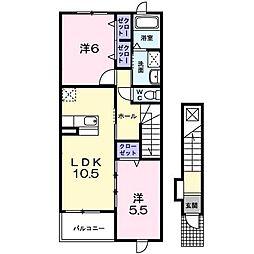 伊豆箱根鉄道駿豆線 牧之郷駅 徒歩11分の賃貸アパート 2階2LDKの間取り