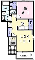 エール ド ランジュA 1階1LDKの間取り