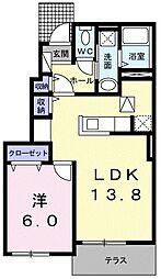 三岐鉄道北勢線 楚原駅 徒歩10分の賃貸アパート 1階1LDKの間取り