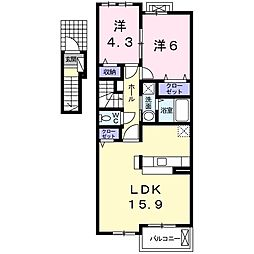 東海交通事業城北線 味美駅 徒歩17分の賃貸アパート 2階2LDKの間取り
