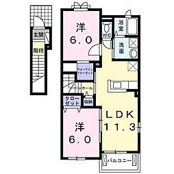 高松琴平電気鉄道長尾線 長尾駅 徒歩26分の賃貸アパート 2階2LDKの間取り