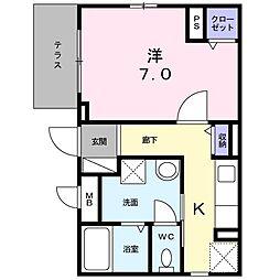 莵道アパート 1階1Kの間取り