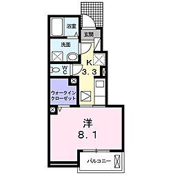 JR水戸線 結城駅 徒歩26分の賃貸アパート 1階1Kの間取り