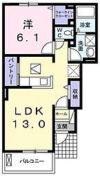 JR青梅線 宮ノ平駅 徒歩23分の賃貸アパート 1階1LDKの間取り