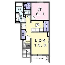 湘南新宿ライン宇須 栗橋駅 3.2kmの賃貸アパート 1階1LDKの間取り