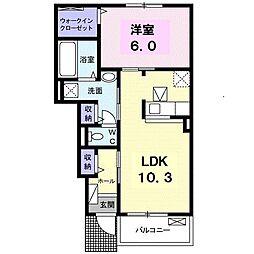 JR土讃線 琴平駅 徒歩17分の賃貸アパート 1階1LDKの間取り
