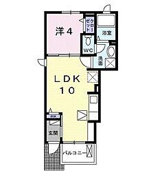 JR東海道本線 茅ヶ崎駅 徒歩10分の賃貸アパート 1階1LDKの間取り