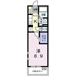 JR東北本線 宇都宮駅 バス10分 大曽十文字下車 徒歩3分の賃貸マンション 2階1Kの間取り