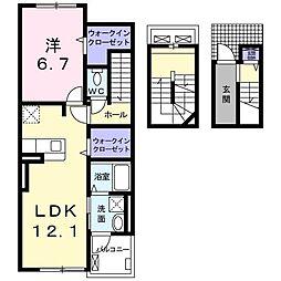 ニューベルトゥリー 3階1LDKの間取り
