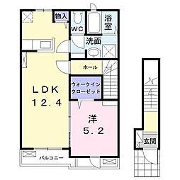 円蔵アパート 2階1LDKの間取り