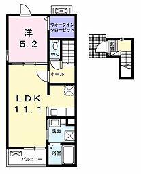 東武佐野線 渡瀬駅 徒歩11分の賃貸アパート 2階1LDKの間取り