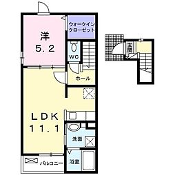 JR予讃線 端岡駅 徒歩26分の賃貸アパート 2階1LDKの間取り