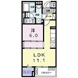 沖縄都市モノレール 古島駅 バス99分 宇舎川下車 徒歩13分の賃貸マンション 1階1LDKの間取り