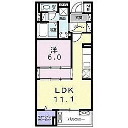 沖縄都市モノレール 古島駅 バス99分 宇舎川下車 徒歩13分の賃貸マンション 4階1LDKの間取り