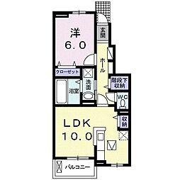 東武伊勢崎線 境町駅 徒歩10分の賃貸アパート 1階1LDKの間取り