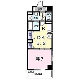 JR南武線 久地駅 徒歩3分の賃貸マンション 2階1DKの間取り