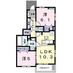 ラ・クリアンサ 1階2LDKの間取り