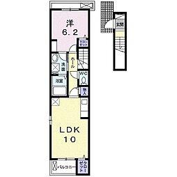 名鉄名古屋本線 本星崎駅 徒歩8分の賃貸アパート 2階1LDKの間取り