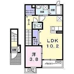 エスポワール桜町 2階1LDKの間取り