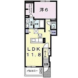 JR東海道本線 岡崎駅 徒歩28分の賃貸アパート 1階1LDKの間取り