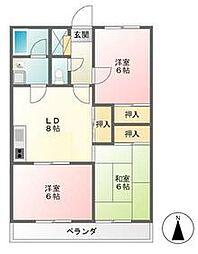 JR南武線 西府駅 徒歩13分の賃貸マンション 3階3DKの間取り