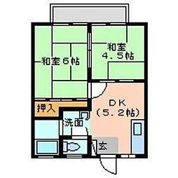 名鉄河和線 河和駅 7.6kmの賃貸アパート 1階2DKの間取り
