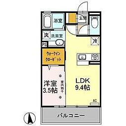ヤンガー佐野 3階1LDKの間取り