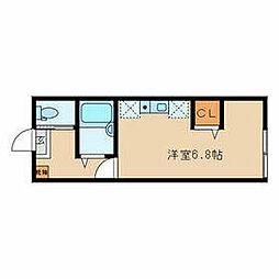 西武有楽町線 新桜台駅 徒歩4分の賃貸アパート 1階ワンルームの間取り
